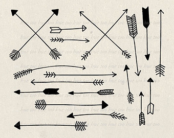 340x270 Arrows Clip Art, Tribal Arrow Clipart, Archery Hand Drawn Arrows