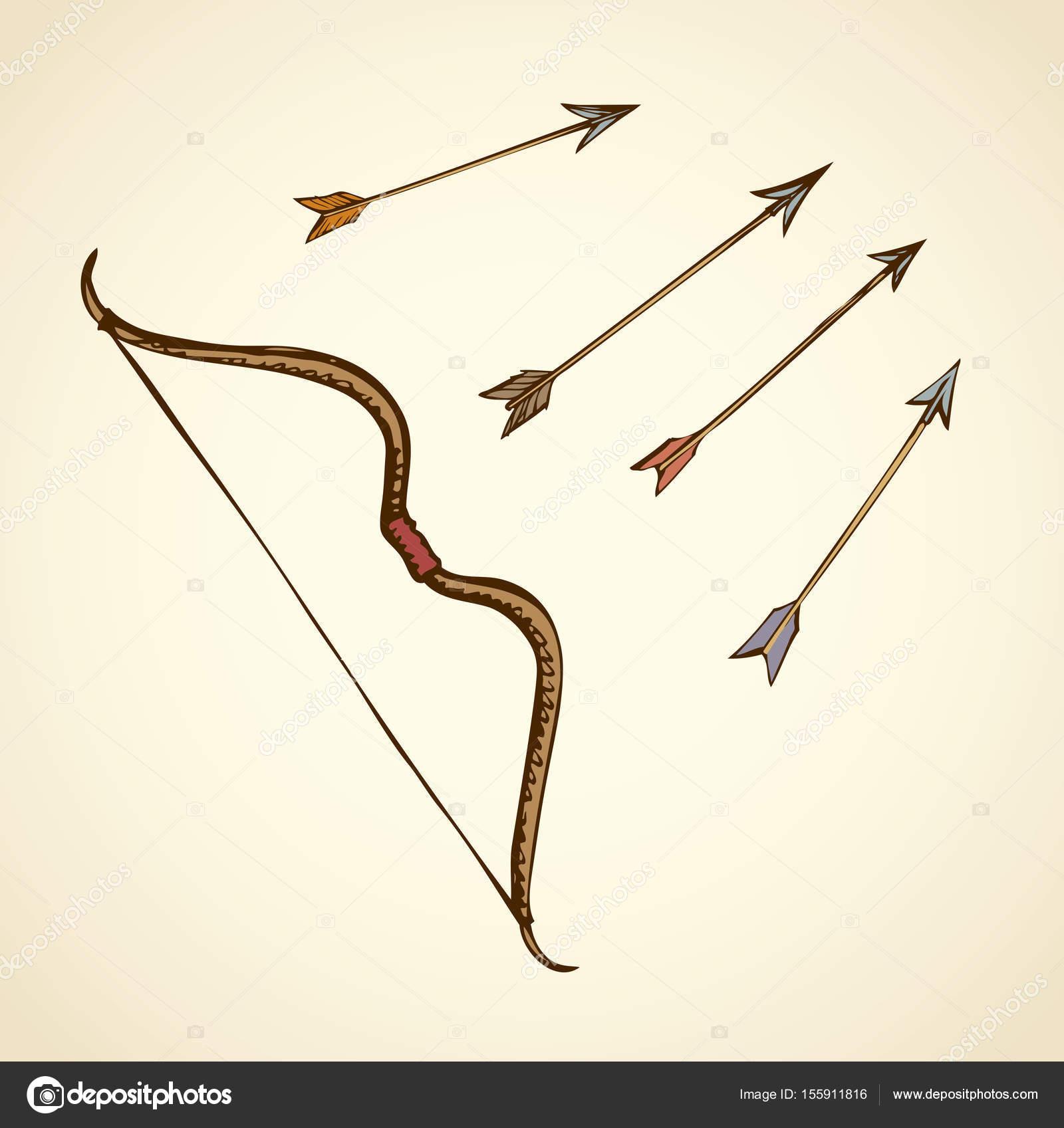 1600x1697 Bow Arrows. Vector Drawing Stock Vector Marinka