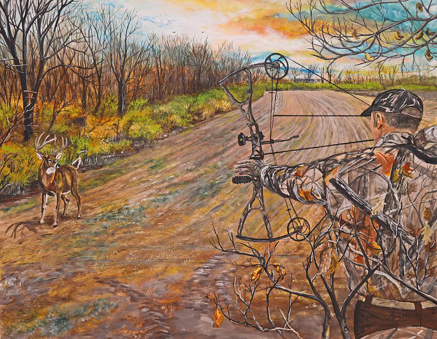 900x699 Bow Hunter Full Draw Painting By Alvin Hepler