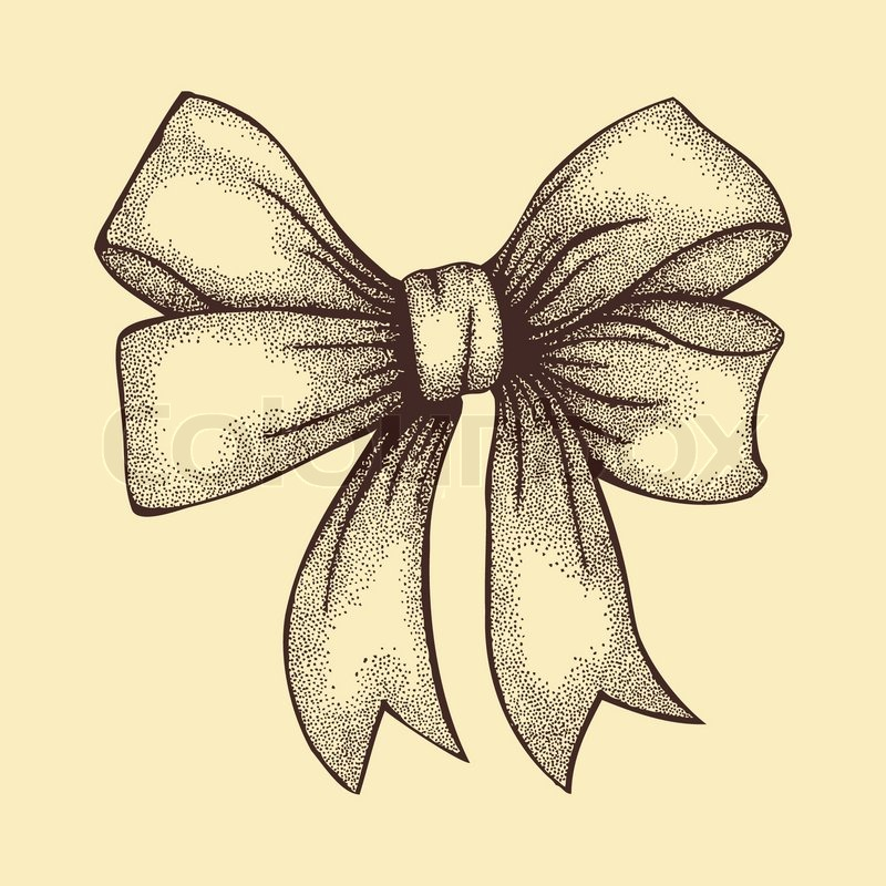 800x800 Beautiful Ribbon Tied In A Bow. Freehand Drawing In Graphic Style