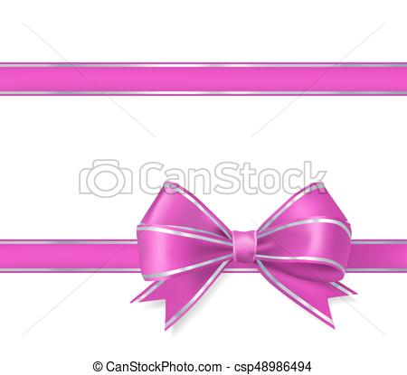 450x415 Pink Bow Ribbon On White. Vector Illustration Eps Vectors