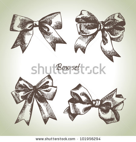 450x470 Set Of Bow. Hand Drawn Illustrations Of Ribbons