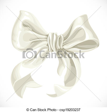 450x470 Vector Illustration Of White Satin Ribbon Bow Isolated