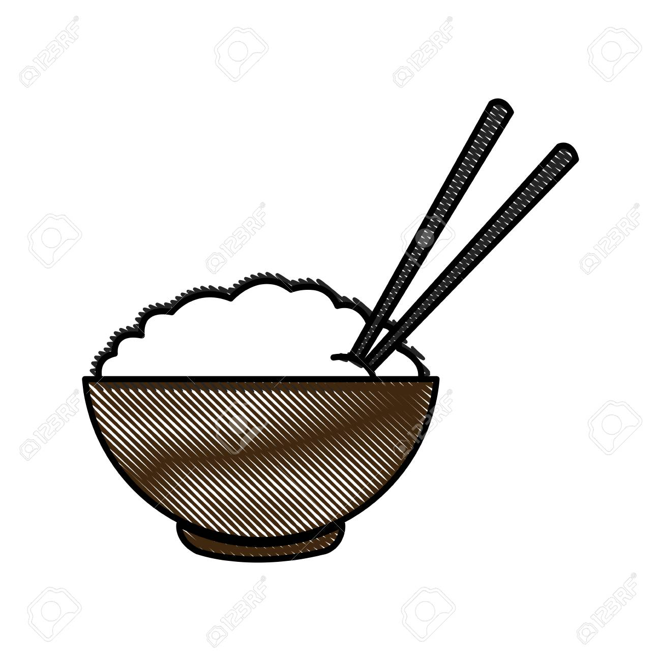1300x1300 Drawing Bowl Of Rice And Chopsticks Cooked Dinner Asian Vector