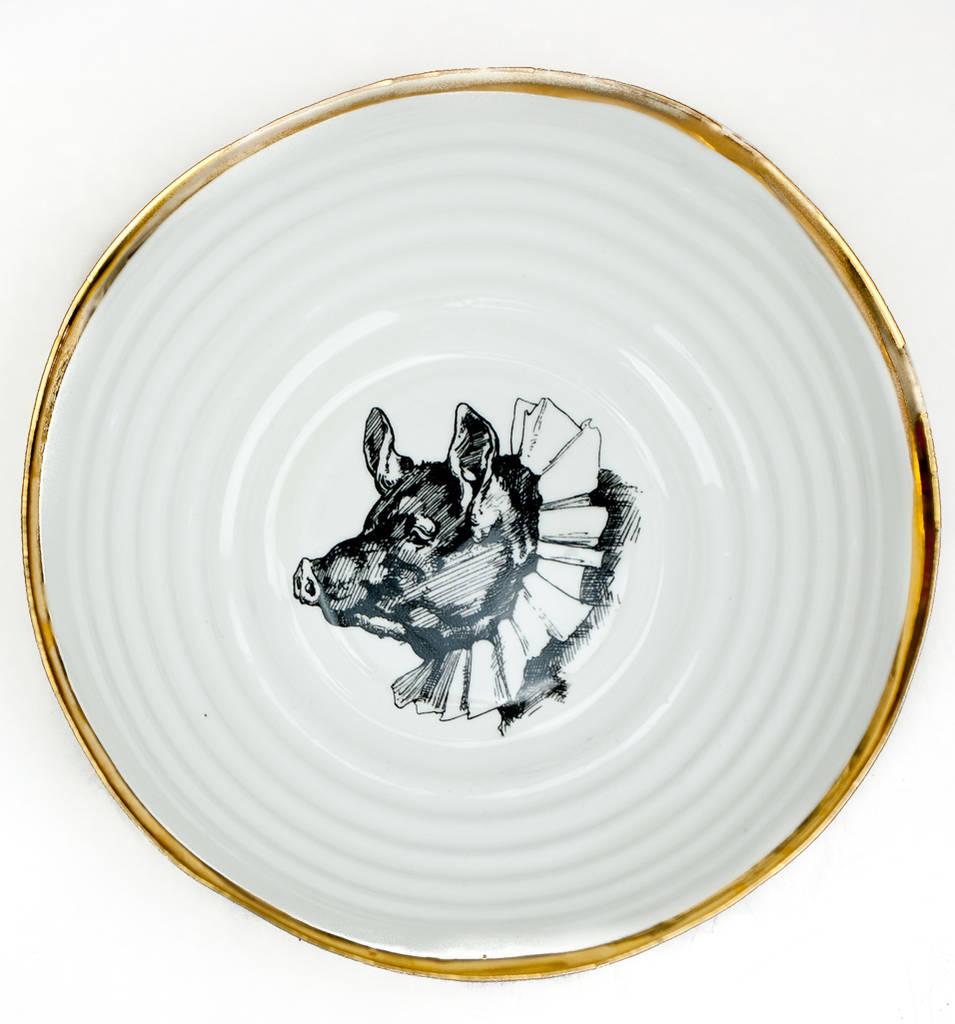 955x1024 Big Porcelain Serving Bowl With Vintage Drawing By Kina Ceramics