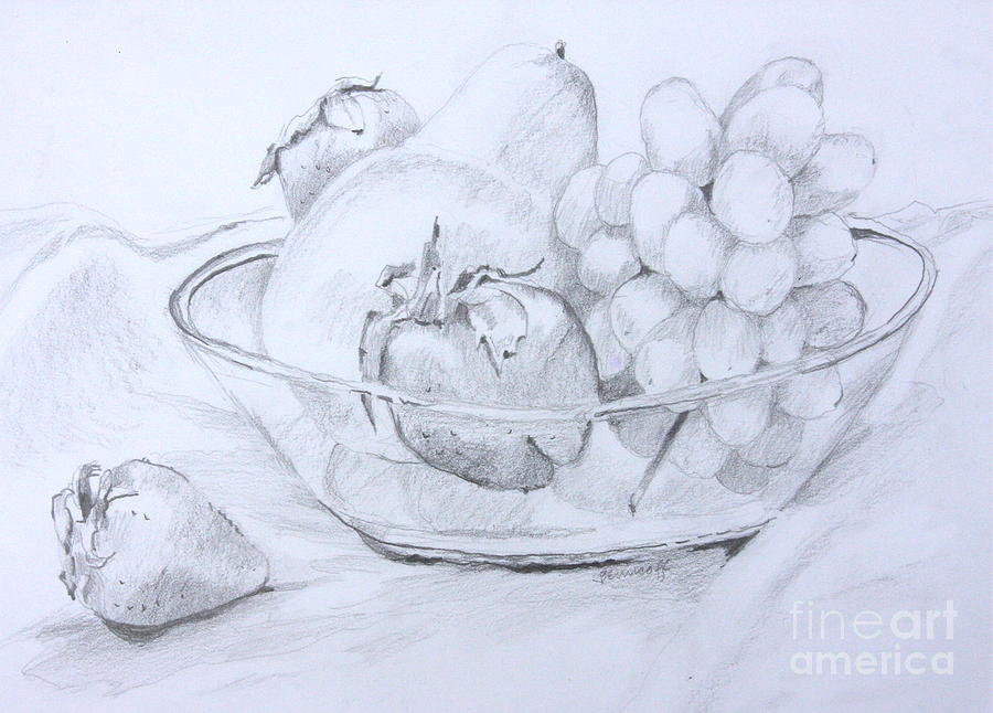 900x646 Still Life With Fruit Drawing By Jan Bennicoff