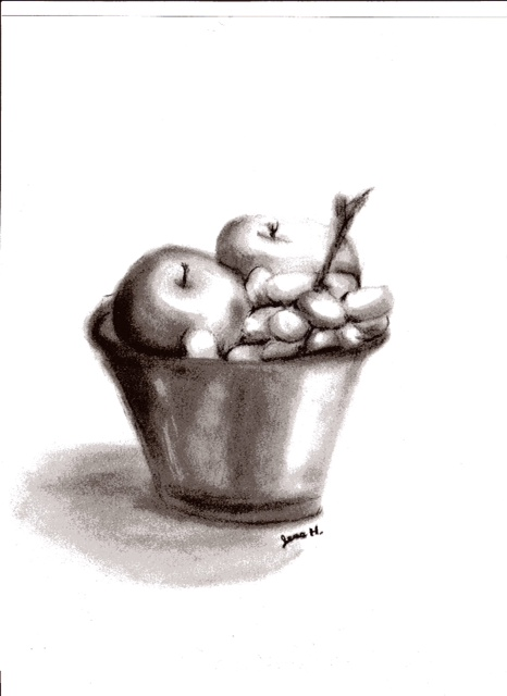 466x640 Charcoal Drawing Of A Fruit Bowl By Heirofhearts