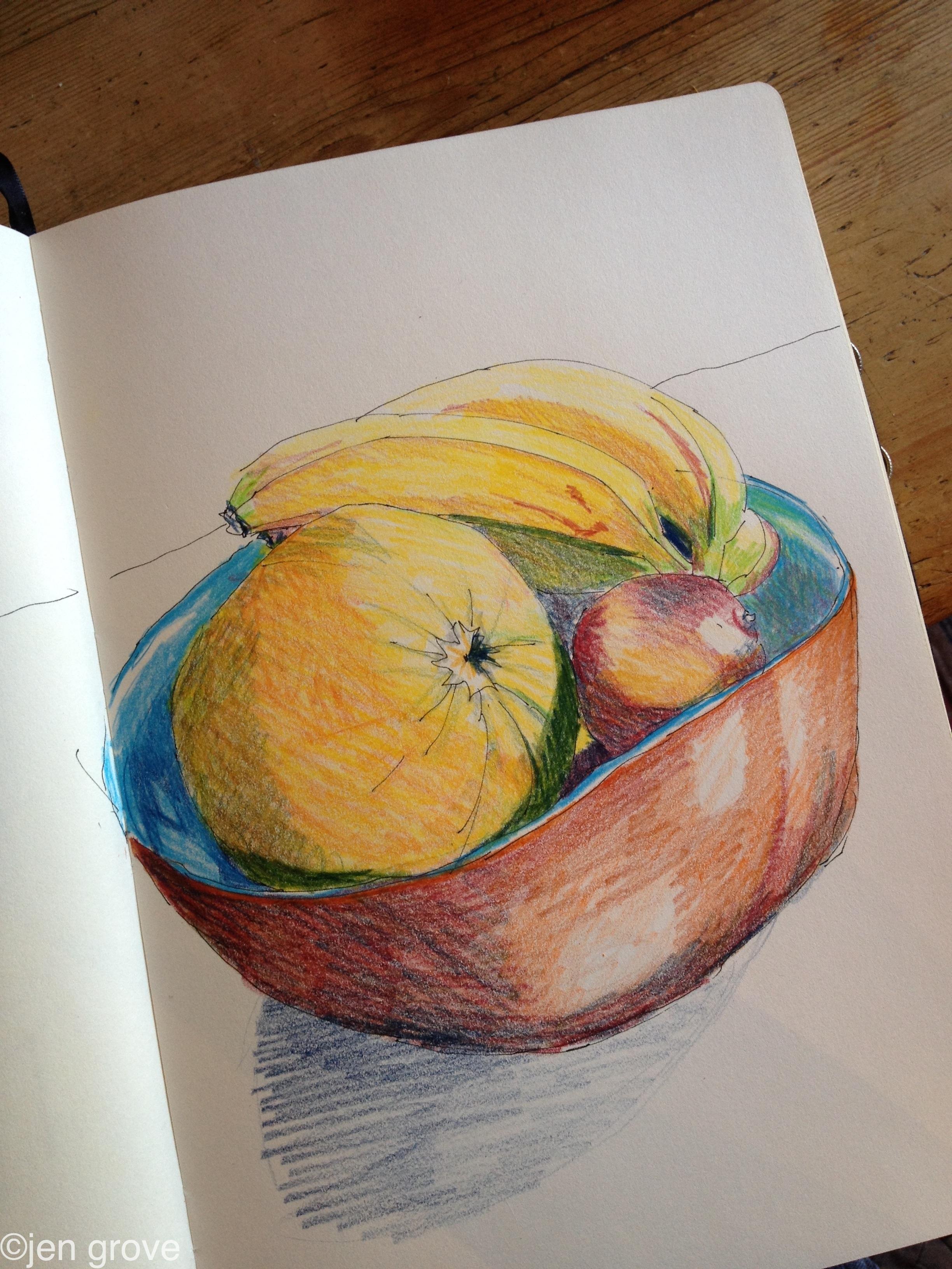 2448x3264 Fruit Bowl Colour Pencil Drawing Jensdraws