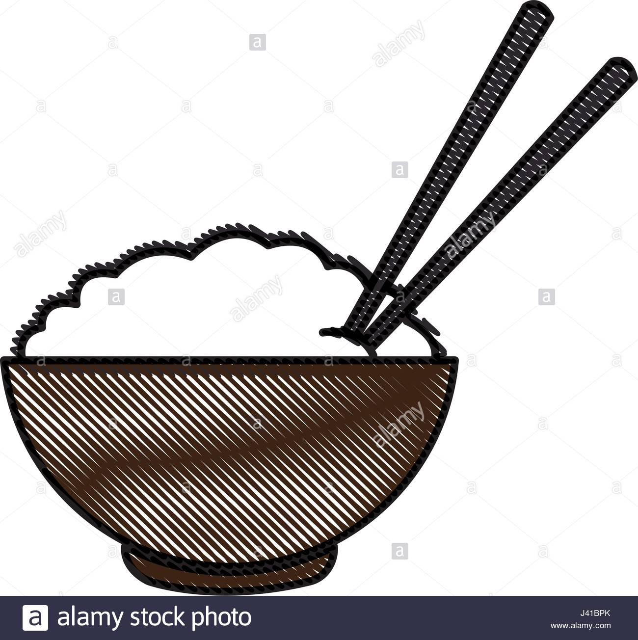 1300x1304 Drawing Bowl Of Rice And Chopsticks Cooked Dinner Asian Stock