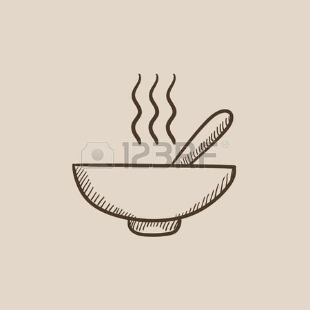 450x450 Bowl Of Hot Soup With Spoon Vector Sketch Icon Isolated
