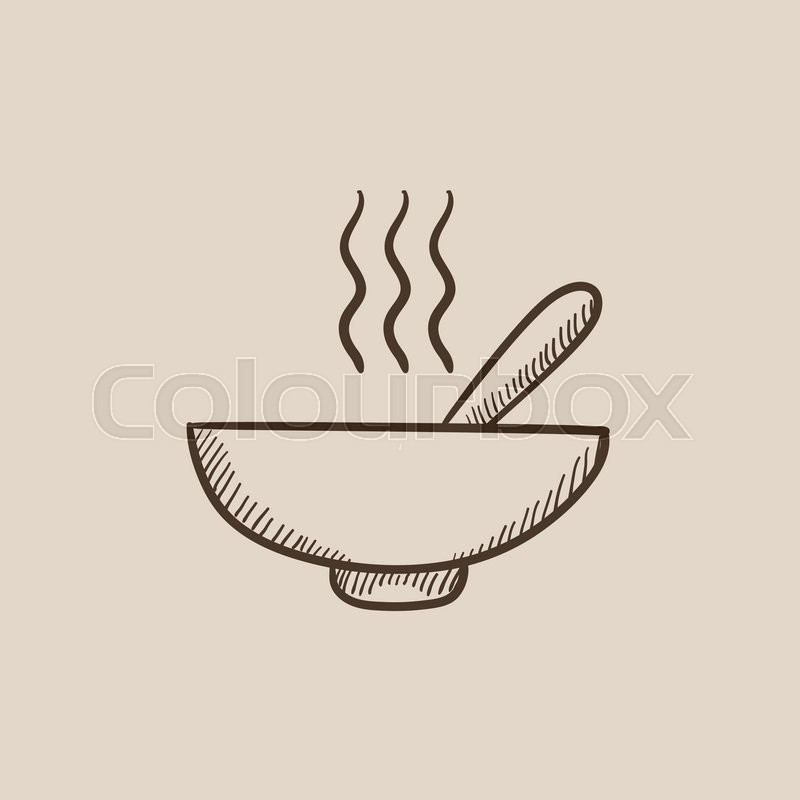 800x800 Bowl Of Hot Soup With Spoon Sketch Icon For Web, Mobile