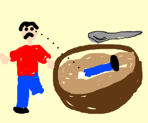 300x250 Man Sees His Missing Leg In Giant Bowl Of Soup (Drawing By Vaylana)