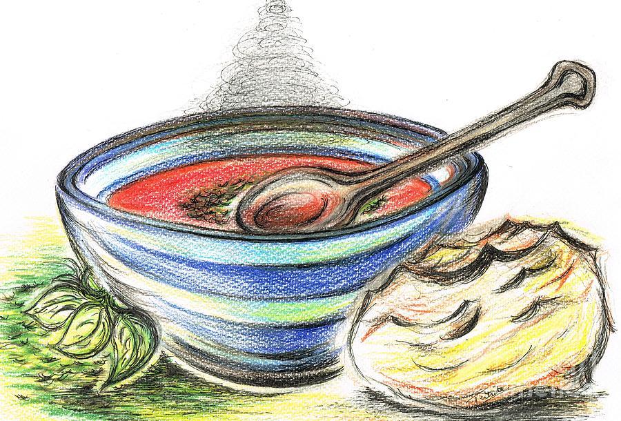 900x610 Warm Bowl Of Tomato Soup Drawing By Teresa White