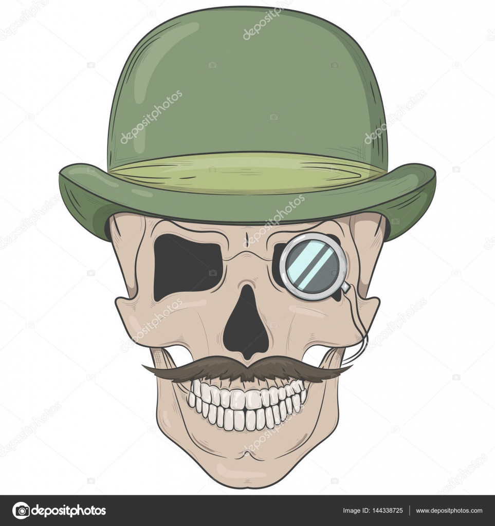 963x1024 Skull In A Bowler Hat. Gentleman Skull With A Monocle. Vector