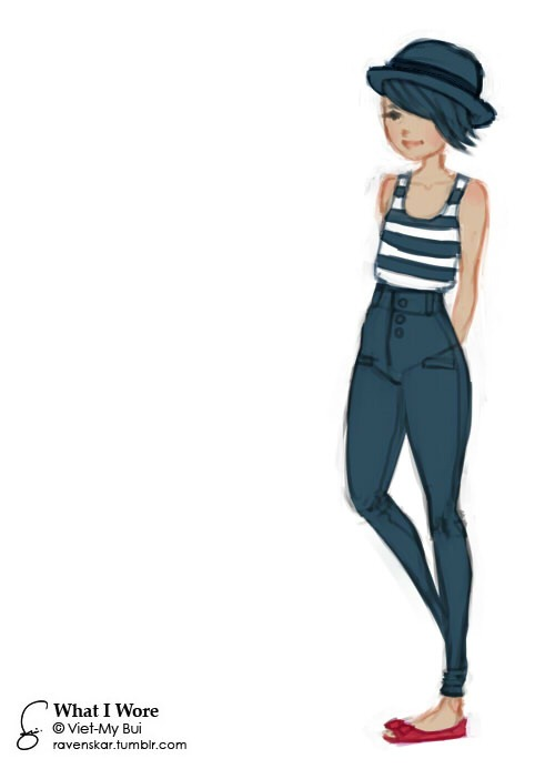 500x693 What I Wore Bowler Hat, Striped Singlet, High Waisted Skinny