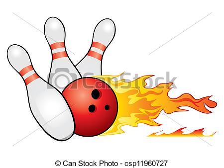 450x338 Bowling Symbol. Red Bowling Ball Crashing Into The Pins Vector