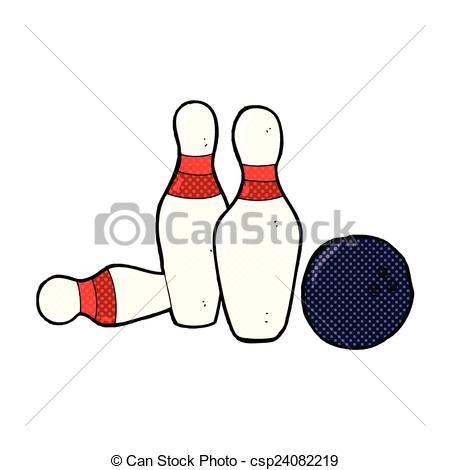 450x470 Comic Cartoon Bowling Ball And Skittles. Retro Comic Book