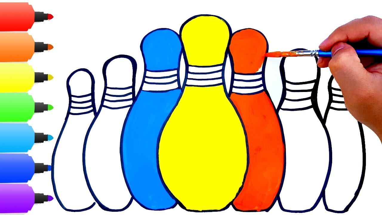 1280x720 How To Draw Bowling Pins Kids Songs Learn Drawing Art Colours