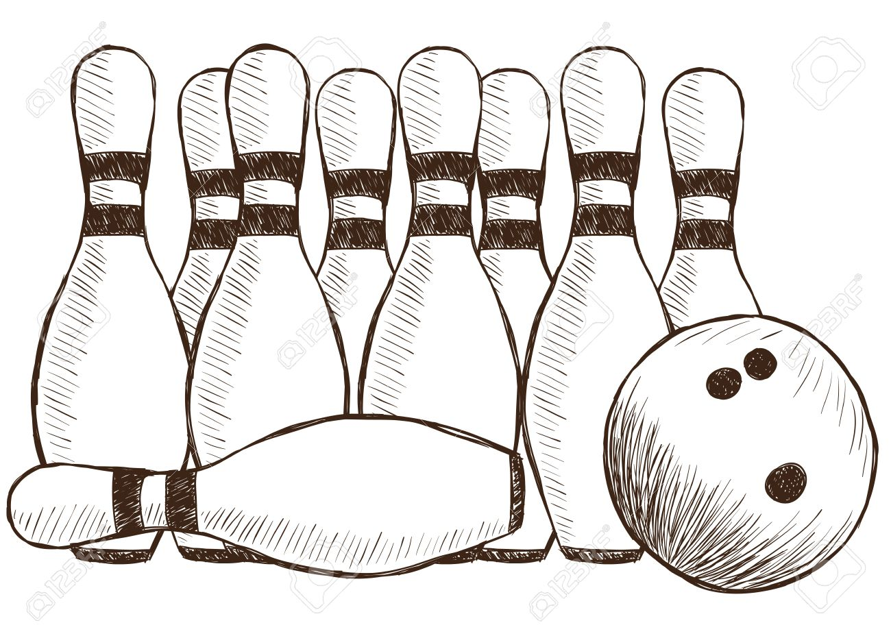 1300x928 Illustration Of Bowling Pins And Ball