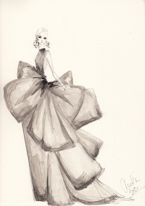 508x720 Fashion Drawing Big Bows Illustratio