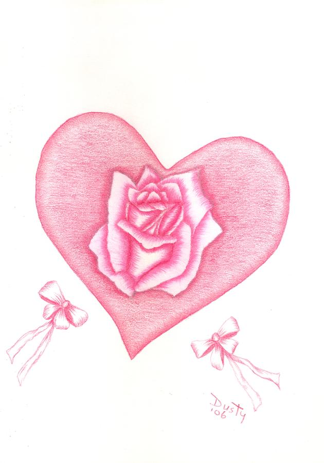 630x900 Heart And Bows Drawing By Dusty Reed