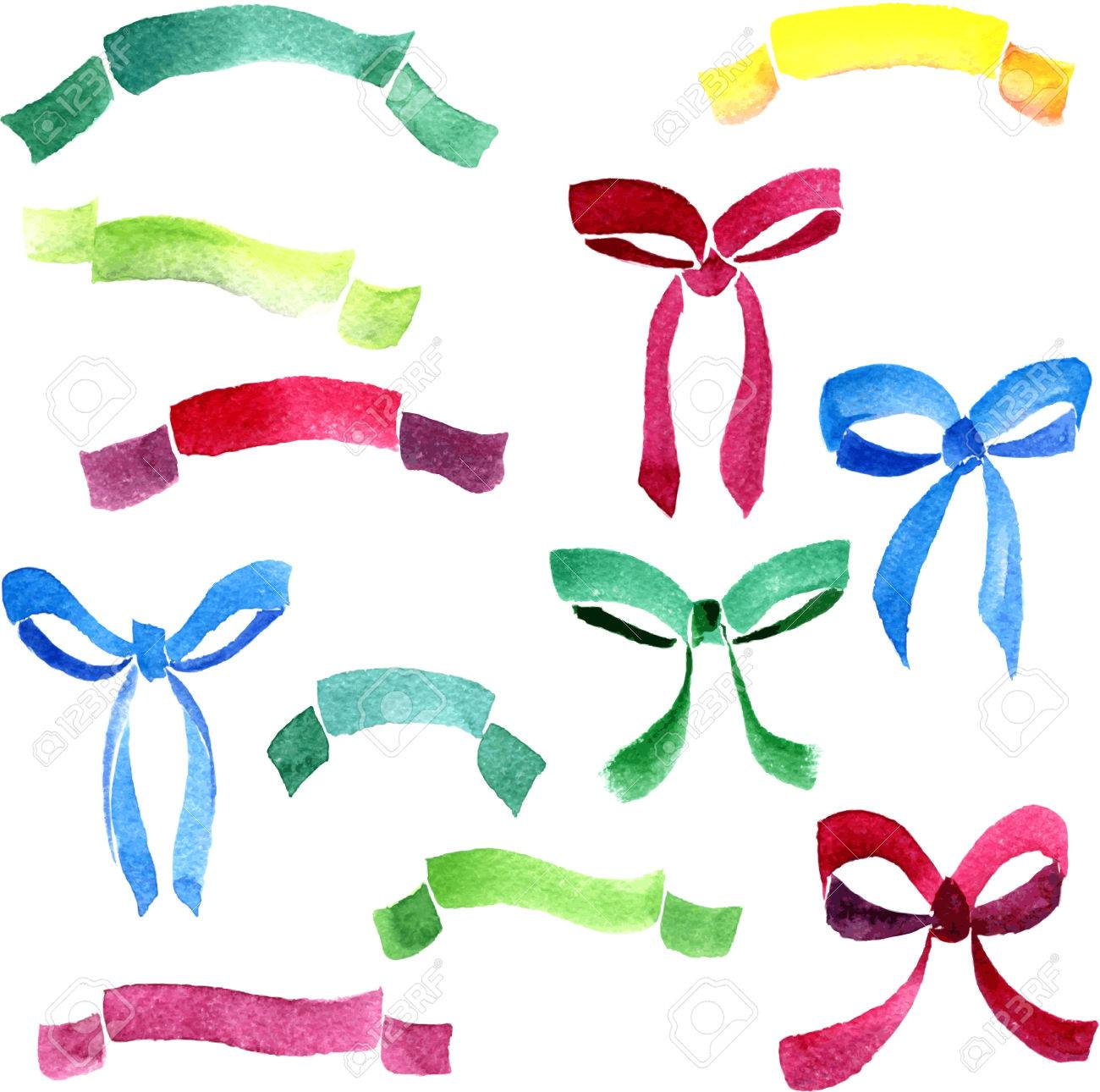 1300x1290 Set Of Watercolor Drawing Many Coloured Ribbons And Bows Drawing