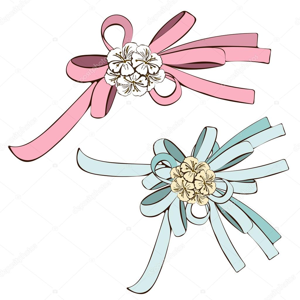 1024x1024 Set Of Bows, Pink Bow And Blue With White Flowers. Painted