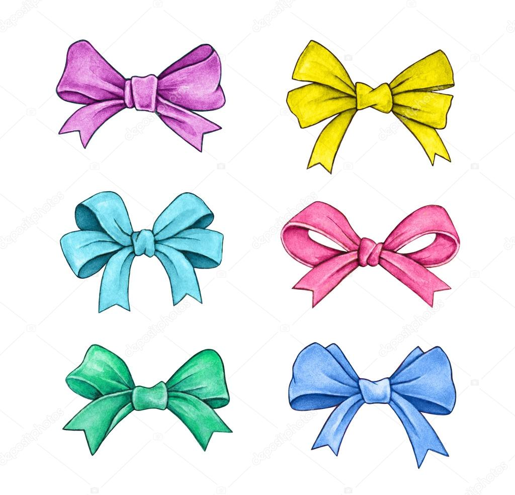 1024x984 Set Of Color Gift Bows Isolated On A White Background. Watercolor