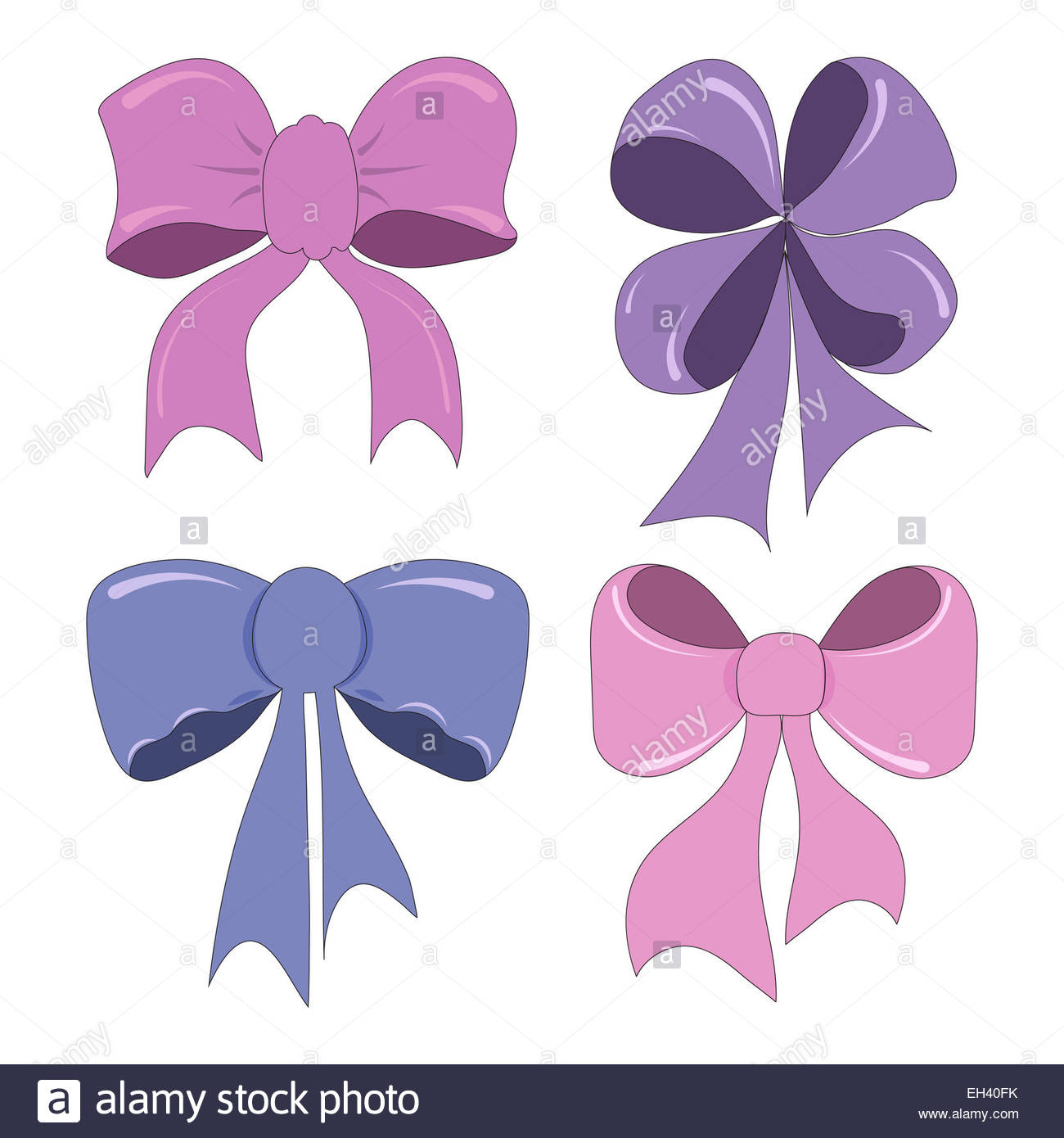 1300x1390 Set Of Hand Drawing Bows Cute Cartoon Style Stock Photo 79378871