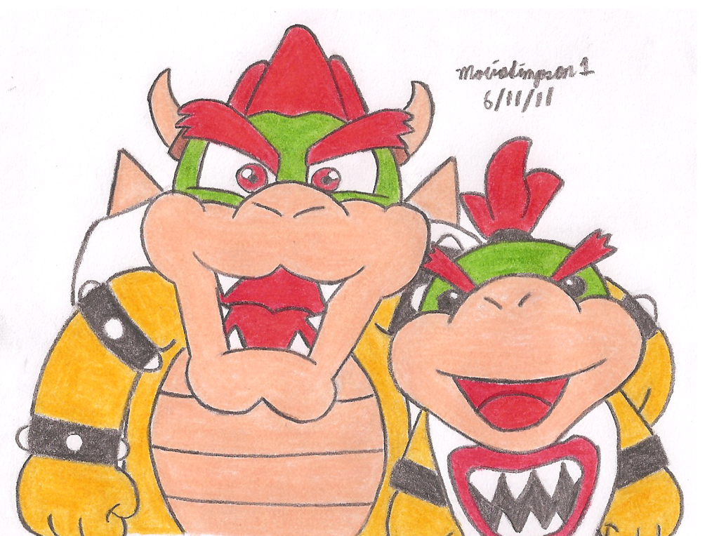 1024x764 Bowser And Bowser Jr By Mariosimpson1