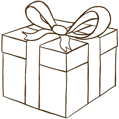 500x500 How To Draw A Wrapped Gift Or Present With Ribbon And Bow