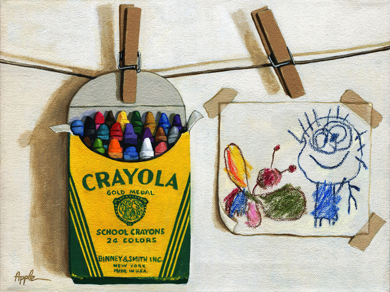 800x600 Box Of Crayons And Children's Drawing Original Realistic Still