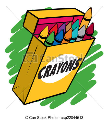 427x470 Crayon Box. An Illustration Of A Box Of Crayons Normal Vector