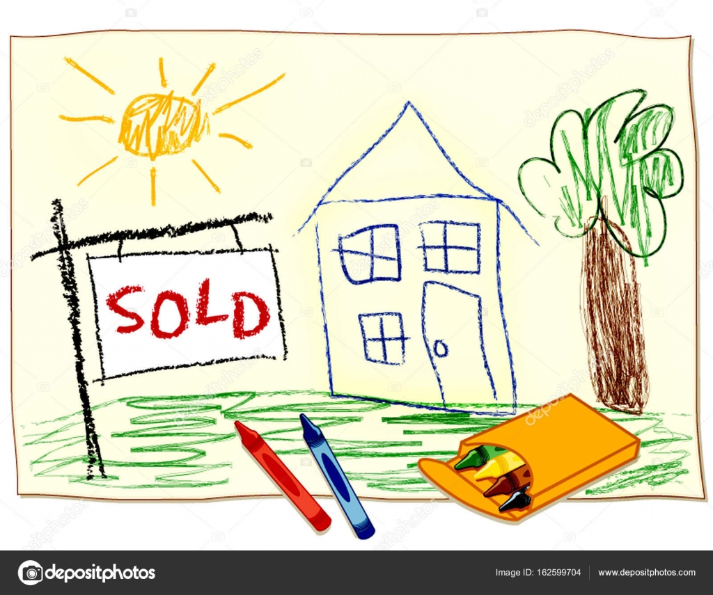 1024x855 Real Estate Sold Sign, Child's Crayon House Drawing Stock Vector