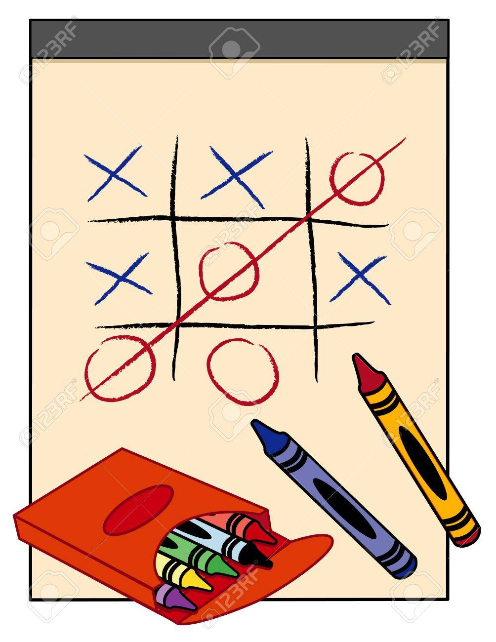 1004x1300 Tic Tac Toe Game On Paper Drawing Tablet With Box Of Crayons