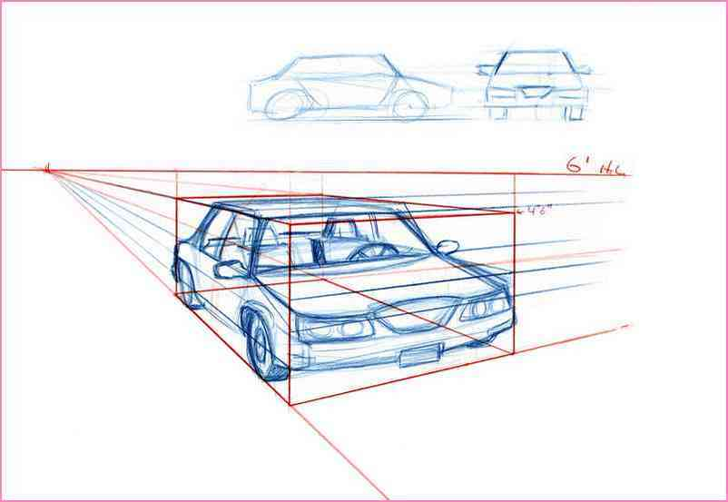 802x553 2 Point Perspective Drawing A Box