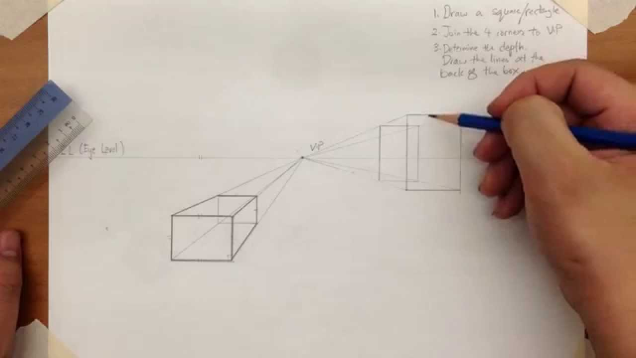 1280x720 How To Draw A 1 Point Perspective Box