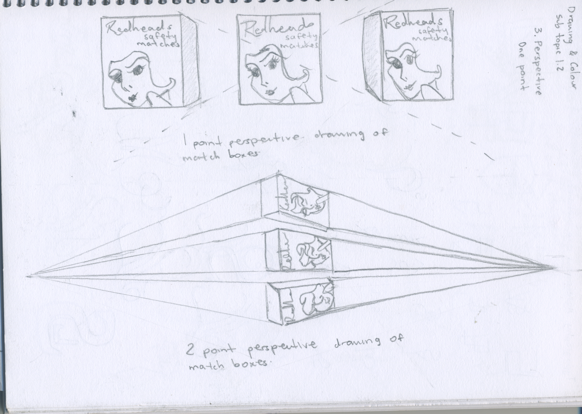 582x414 1 And 2 Point Perspective Drawing Of A Match Box By Sherielucas19