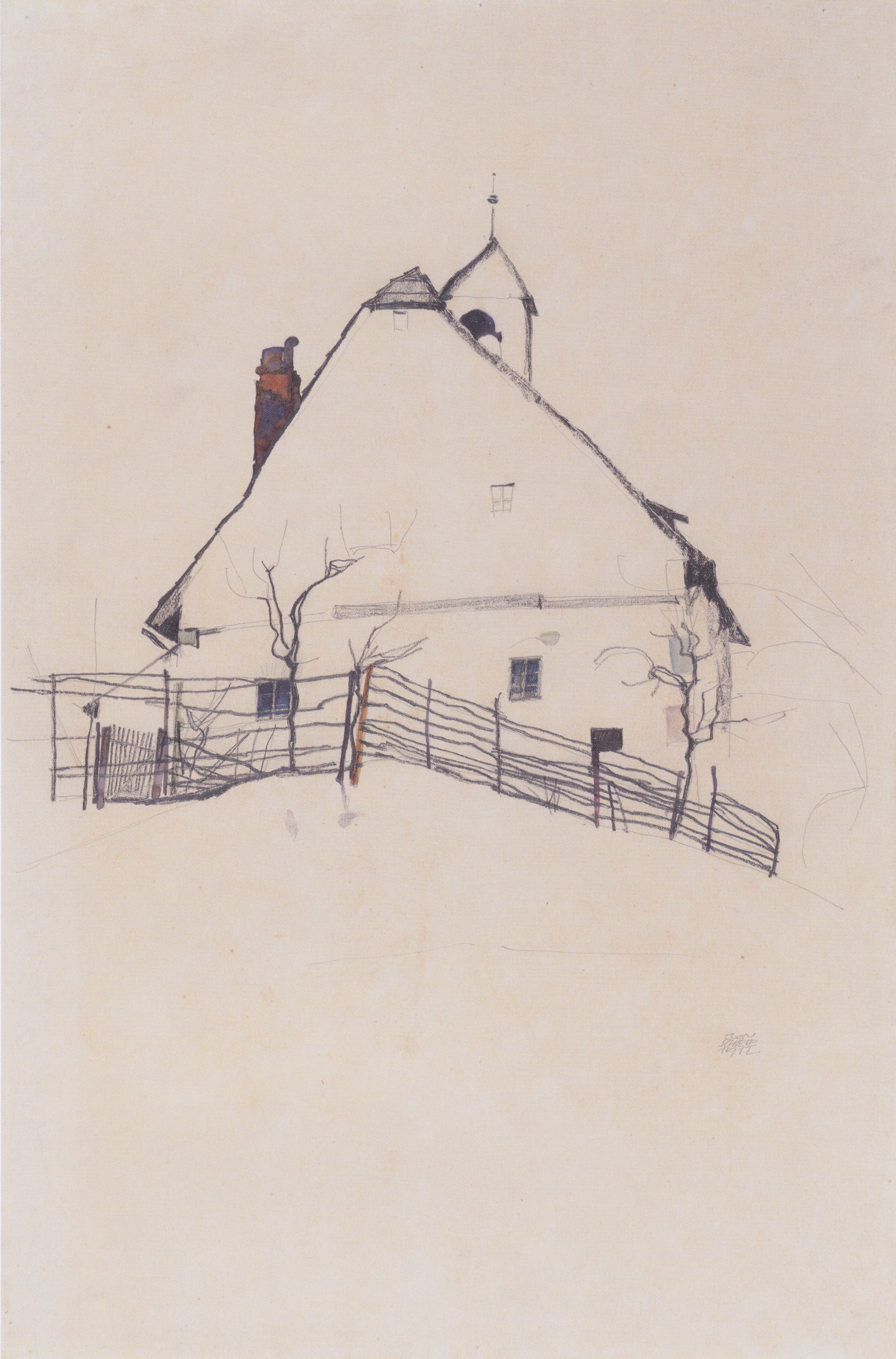 3336x5058 Egon Schiele Landscapes Erts House Sketch