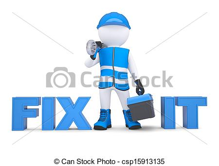 450x341 3d Man In Overalls With A Wrench And Tool Box. Isolated