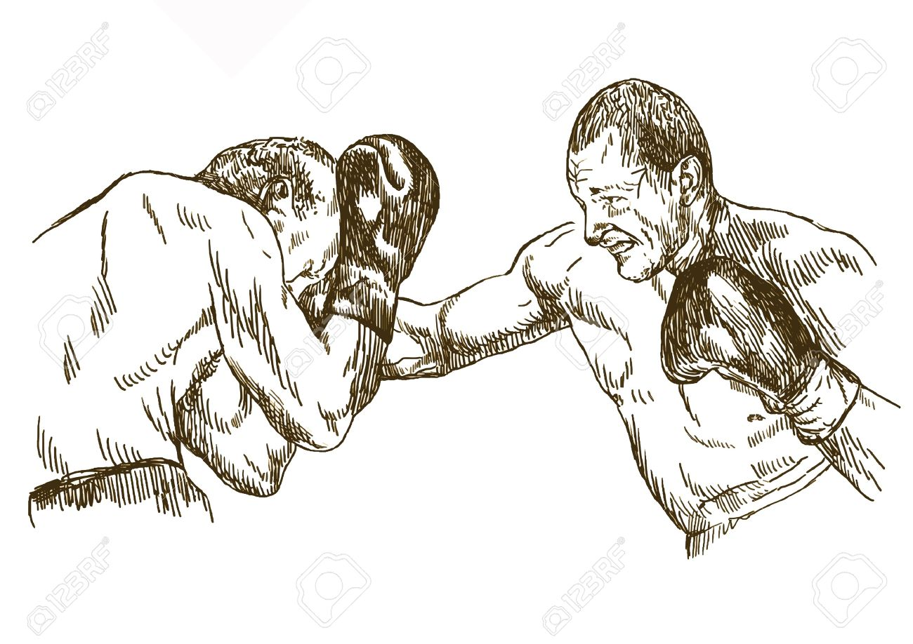 1300x918 Boxing Match , Hand Drawing Converted Royalty Free Cliparts
