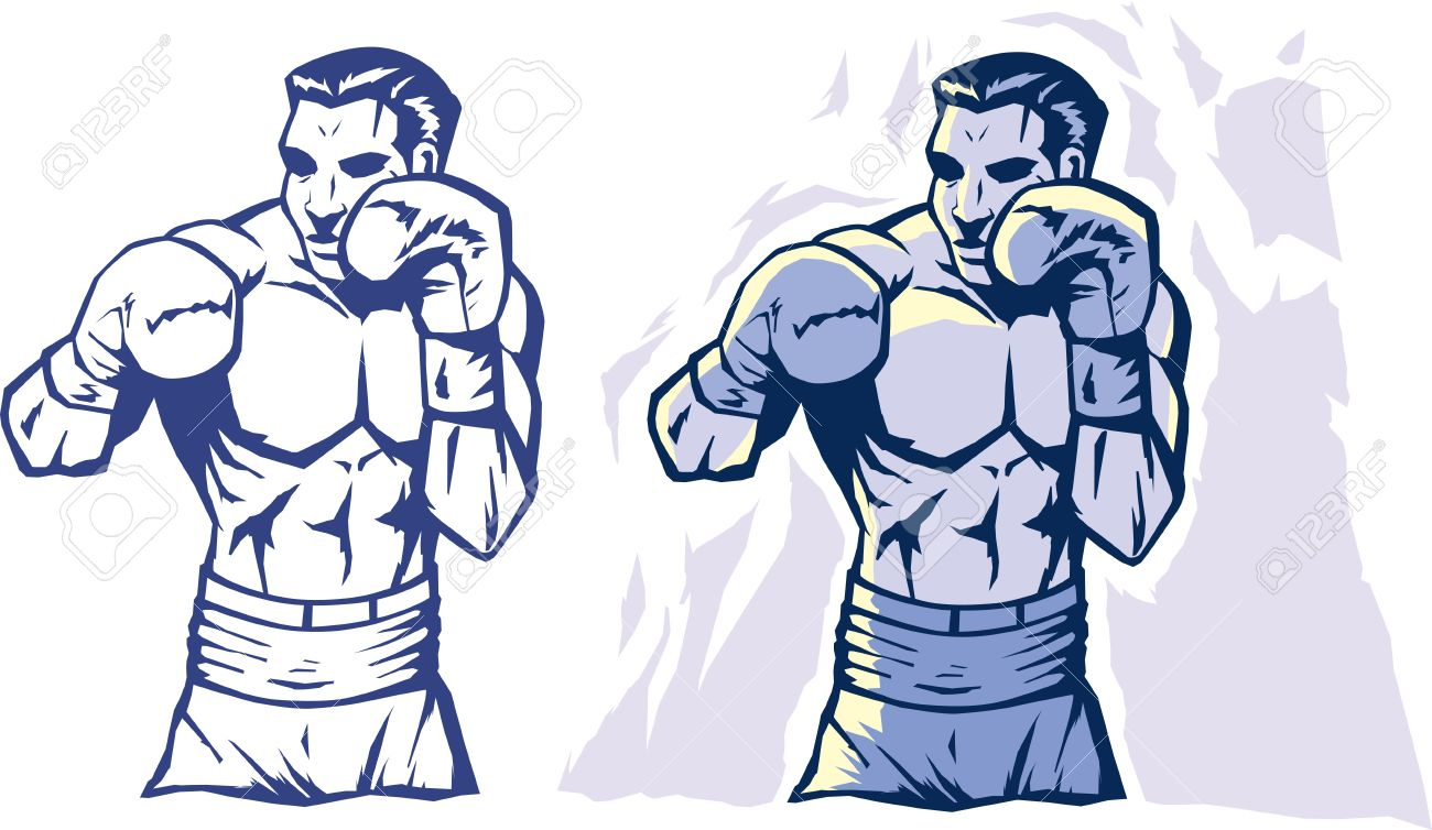 1300x754 Drawing Of A Stylized Boxer Royalty Free Cliparts, Vectors, And