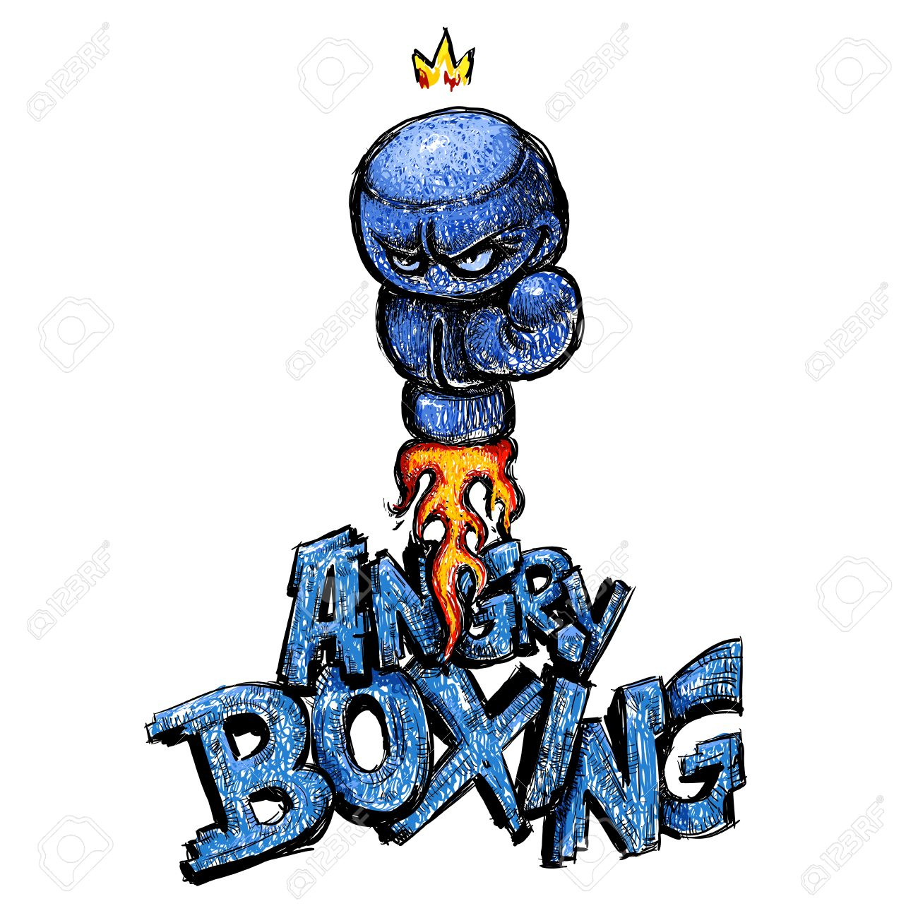 1300x1300 Angry Boxing Glove Drawing, Cartoon Hand Made Style Royalty Free