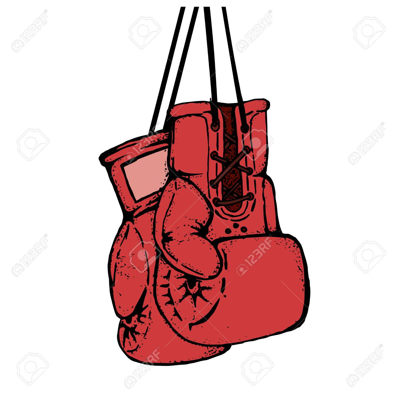 1299x1300 Hand Drawn Boxing Gloves Isolated On White Background. Design