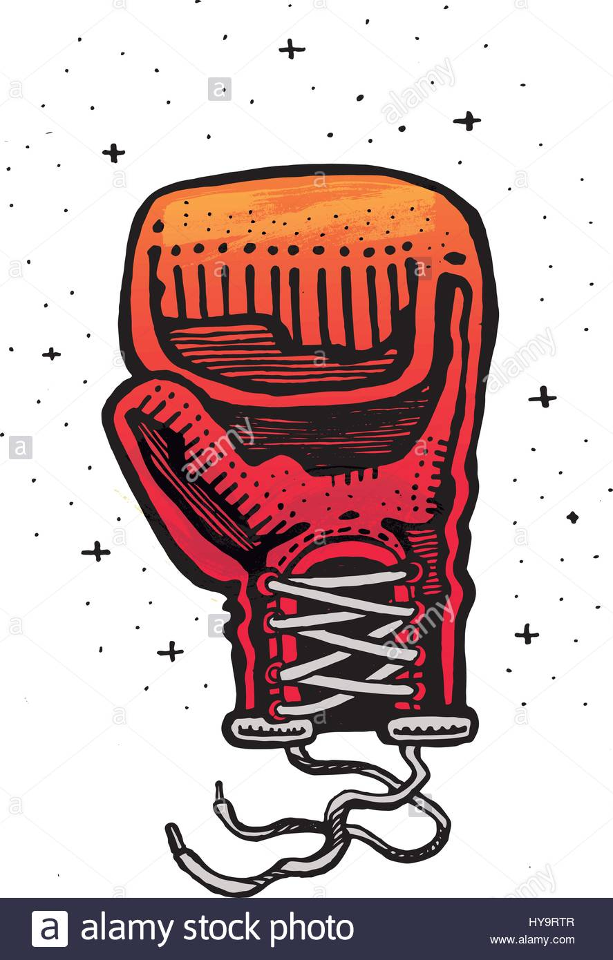 887x1390 Hand drawn vector illustration or drawing of a boxing glove Stock