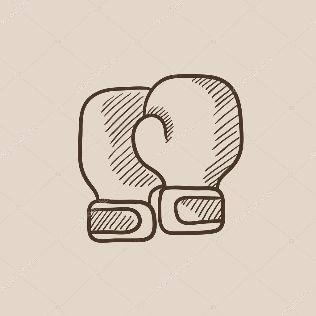 1024x1024 Boxing Gloves Sketch Icon. Stock Vector Rastudio