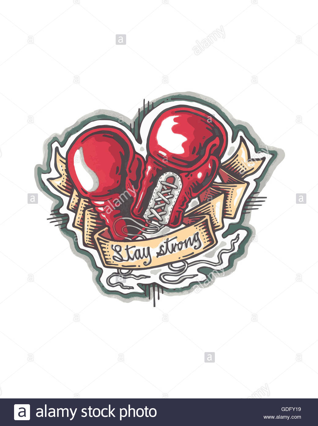 1039x1390 Hand drawn illustration or drawing of a pair of boxing gloves and