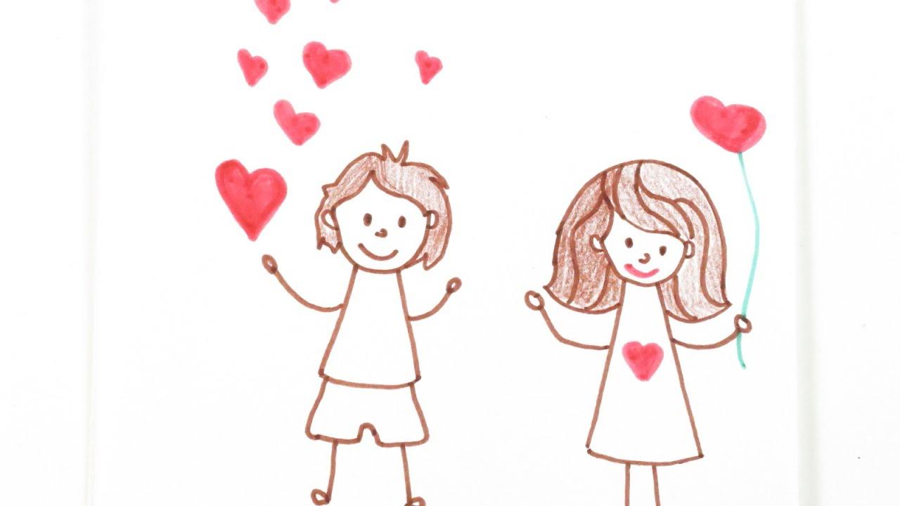1280x720 Cartoon Boy And Girl In Love Drawings Cute Cartoon Boy Girl Couple