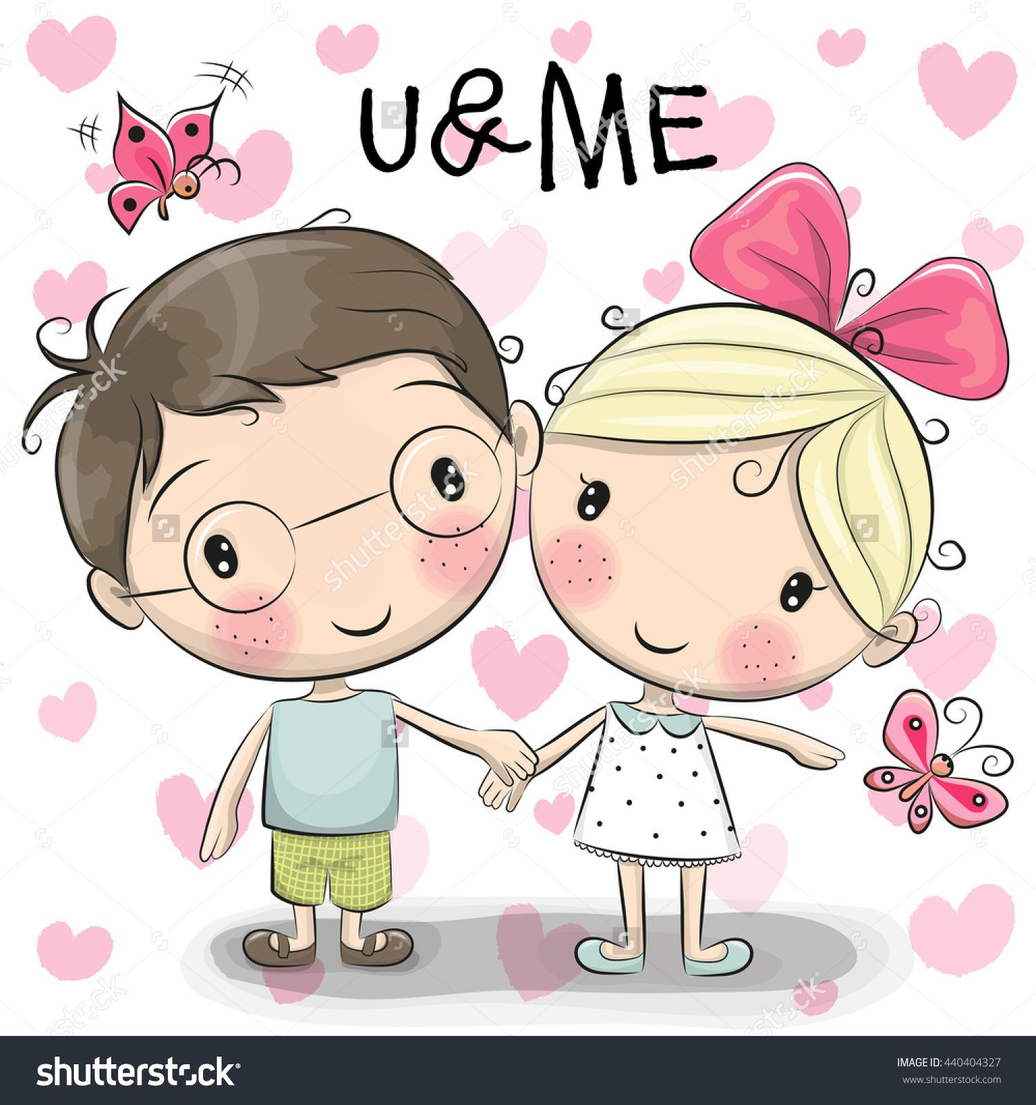 1500x1600 Cute Cartoon Boy And Girl Are Holding Hands On A Heart Background