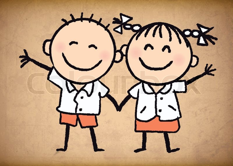 800x571 Cute School Uniform Boy And Girl Sketch Background. Vector